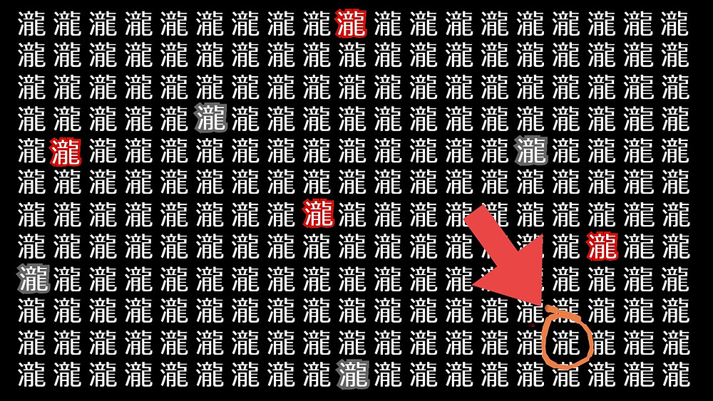 White kanji character 瀧 repeated on a black background. Four of the kanji have gray outlines, and four have red outlines. One of the kanji is missing a line, and it is circled with an arrow pointing to it.