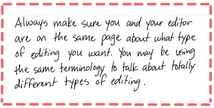 Image text: Always make sure you and your editor are on the same page about what type of editing you want. You may be using the same terminology to talk about totally different types of editing.