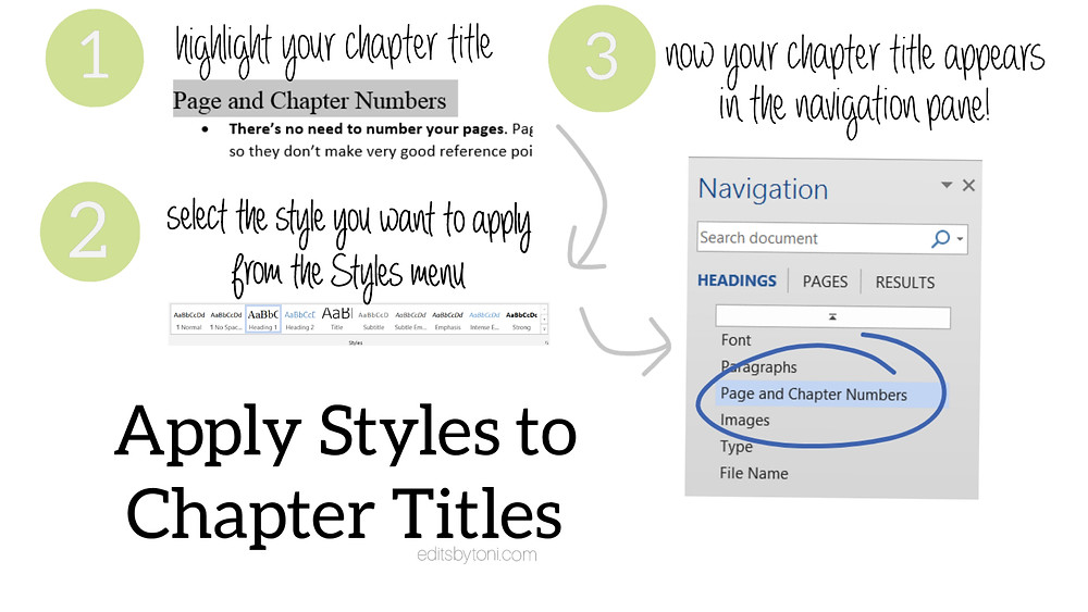 A tutorial image demonstrating how to apply Word's styles to chapter titles in order to make an automatic navigation menu.