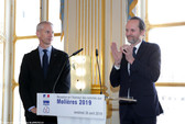 Le Ministre de la Culture Franck Riester et le Président de l'Association on des Molières Jean-Marc Dumontrt