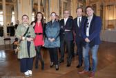 De gauche à droite : Alexandra Clément, Solène Saint Gilles, Delphine Ernotte Cunci, Takis Candilis, Jean-Marc Dumontet et Alex Vizorek