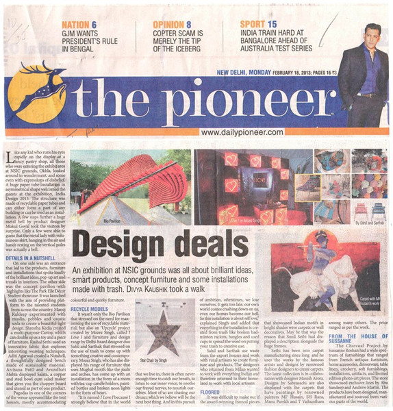 The Pioneer- Delhi Edition covers ID 2013 and our paper tube pavilion