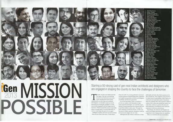andblack- as one of the 50 next generation architects of India.
