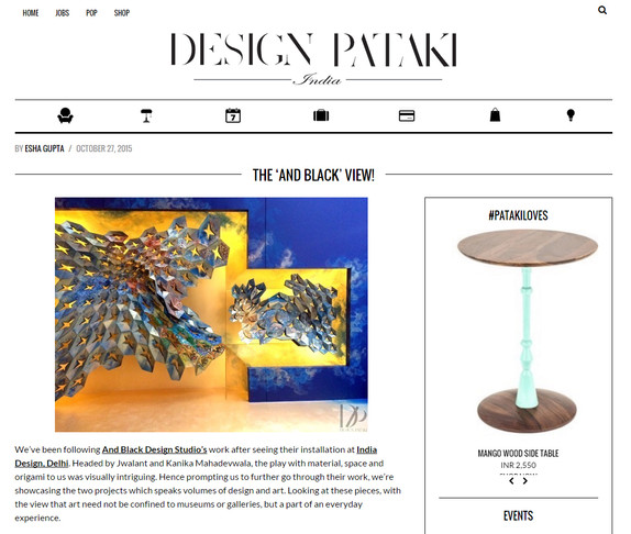 Design Pataki features an article ' the andblack view'