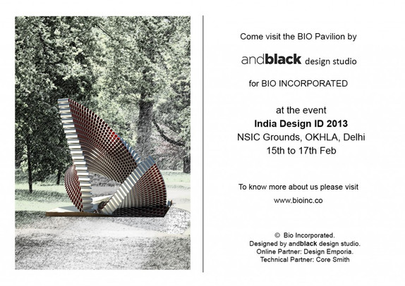 andblack invites you to visit our paper tube pavilion at India Design ID2013, NSIC Grounds, New Delh