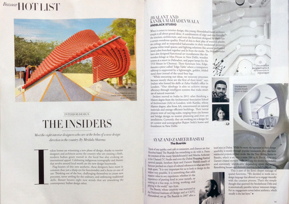 Harper's Bazaar India Jan-Feb 2015 talks about andblack