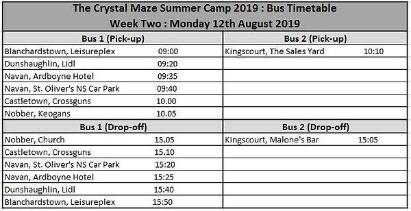RBT SummerCamp 2019 Bus Timetable Week T
