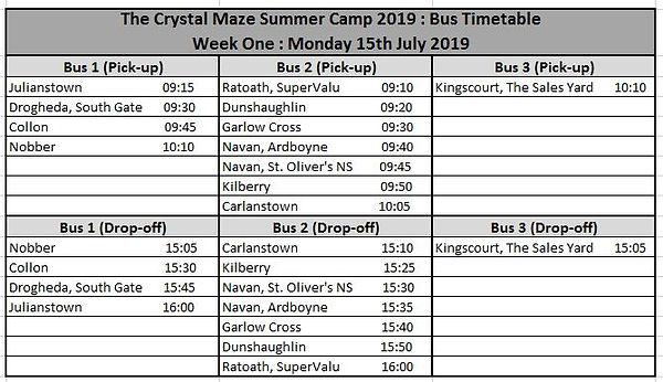 RBT SummerCamp 2019 Bus Timetable Week O