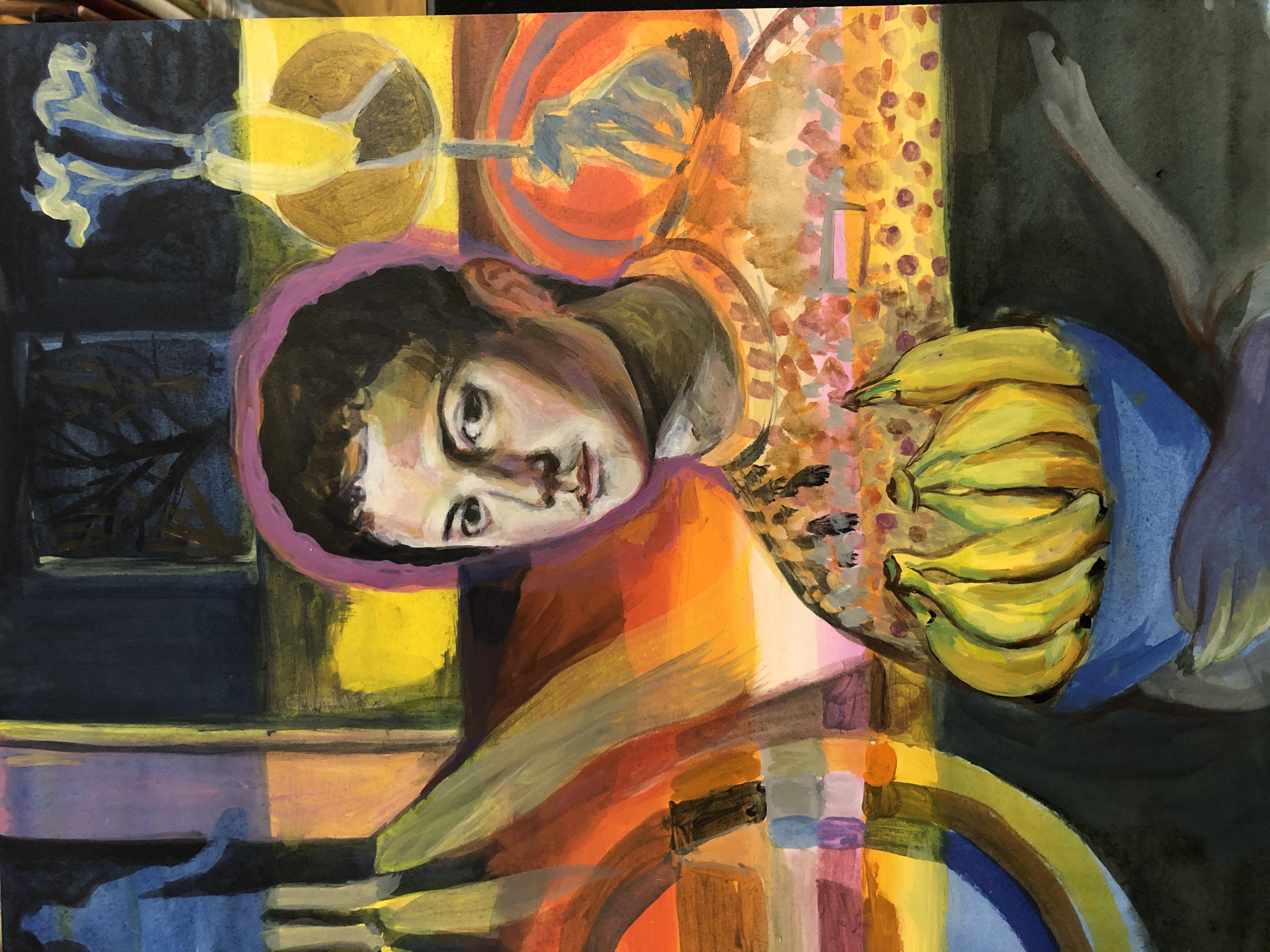 Jongen met kom bananen, 2019