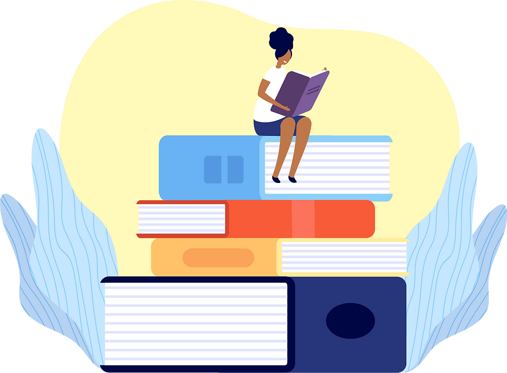 Illustration of a woman sitting on a giant stack of books while reading a book.