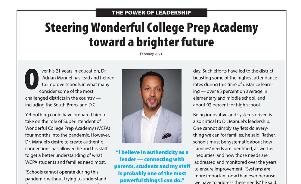 Wonderful College Prep Academy Power of Leadership Article PDF preview