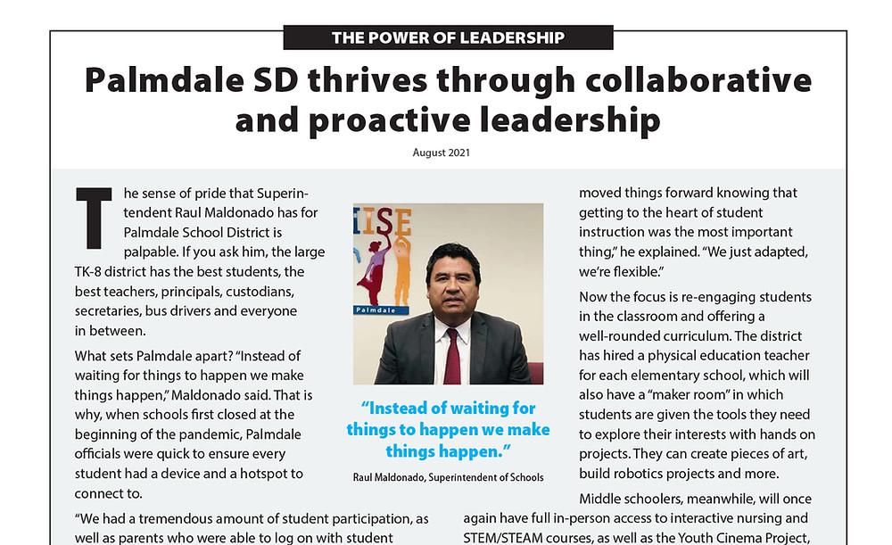 Superintendent Raul Maldonado's portrait on an article.