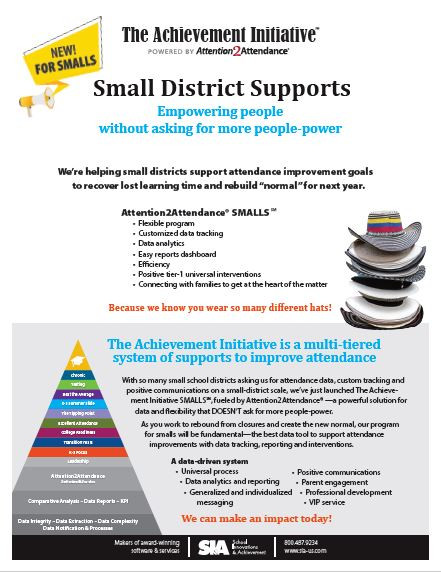Flyer explaining The Achievement Initiative powered by Attenetion2Attendance - K-12 education attendance management system.