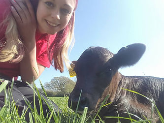 Girl with calf on smallholding course
