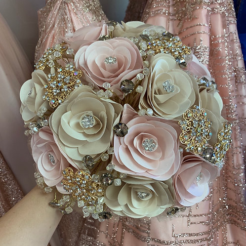 Champagne & Blush with Gold Bouquet