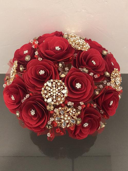Dark Red with Gold Bouquet