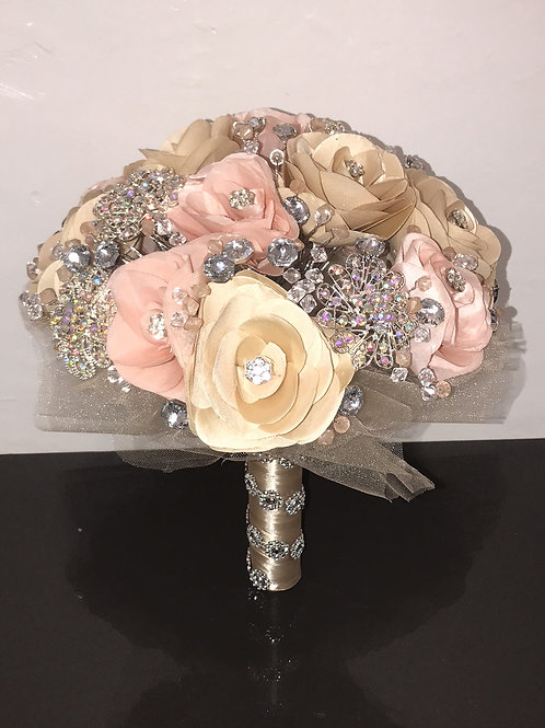 Champagne & Blush with Silver Bouquet