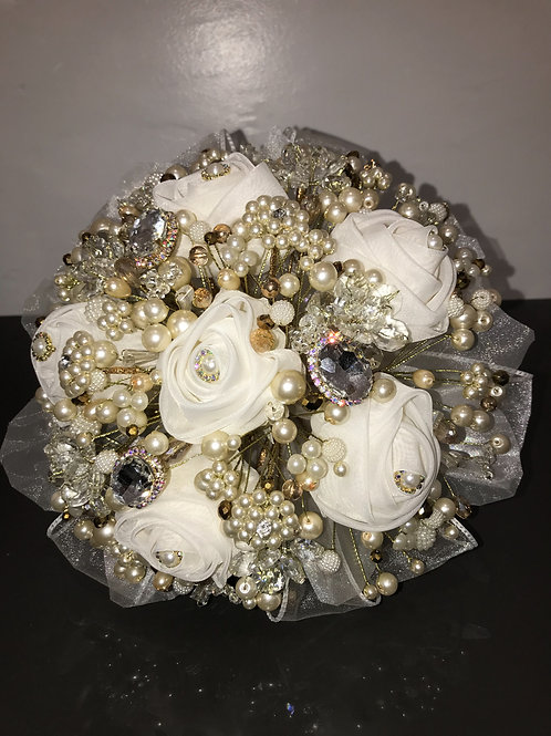 Ivory Bouquet with pearls & crystals