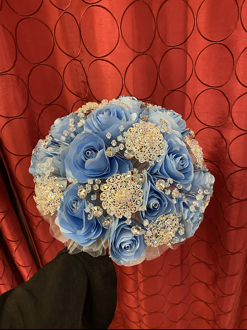 Sky Blue with Silver Bouquet
