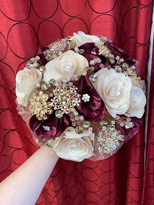 Champagne & Burgundy with Gold Bouquet