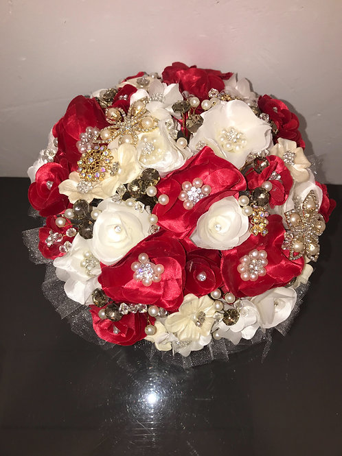 Red and Ivory with Gold Bouquet