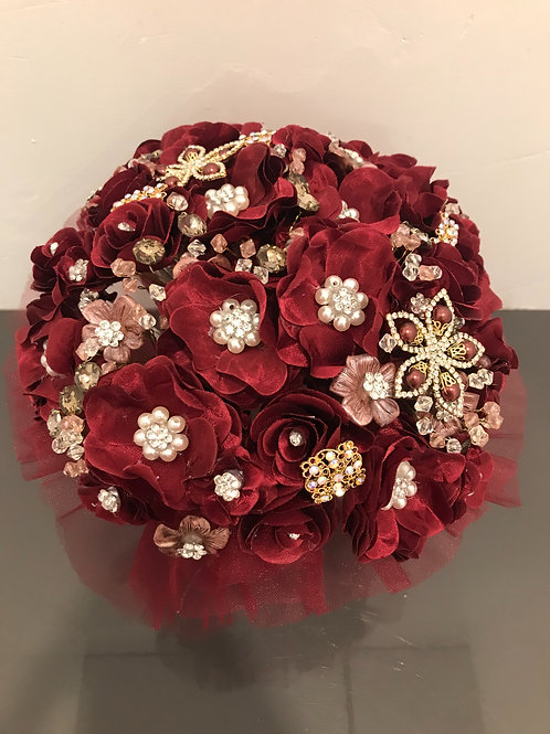 Burgundy with Gold Bouquet