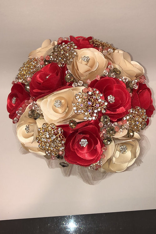 Red and champagne with gold pins