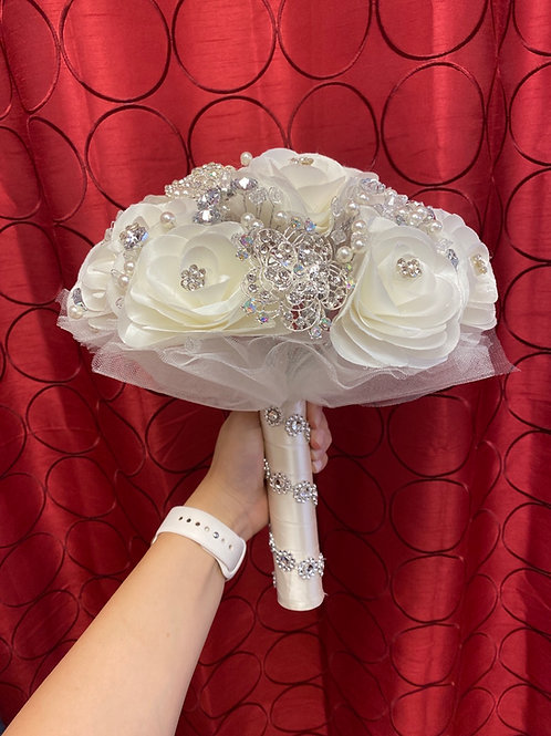 Ivory with Silver Bouquet