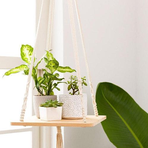 Macrame Plantenhanger met plankje