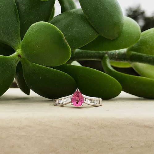 Pear Shape Pink Sapphire with Baguette Diamonds