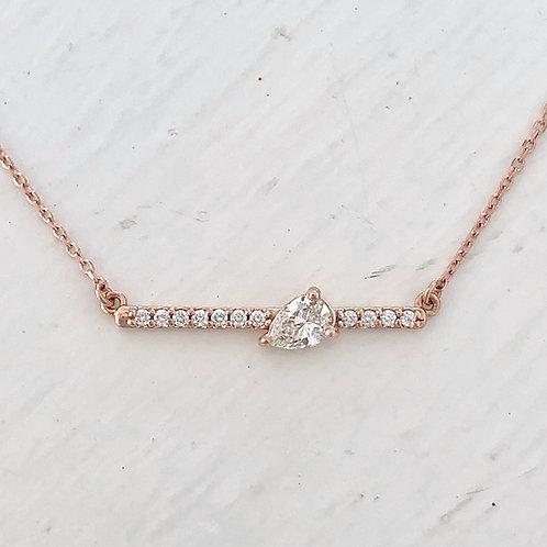 Asymmetrical Pear Shape Diamond Bar Necklace