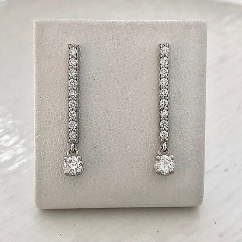 Diamond Bar with Diamond Dangle Earrings
