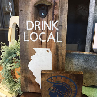 Brush Signs  - Drink Local Bottle Opener and Cary Trojan Head