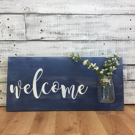 "12""x24"" welcome w/ Mason Jar"