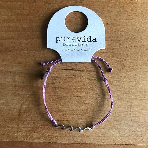 Pura Vida - Delicate Wave Charm Bracelet Purple