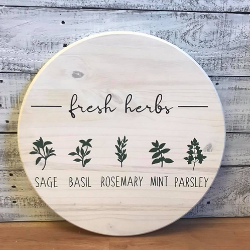 "Fresh Herbs -  15"", 18"" or 24""Round Sign Kit"