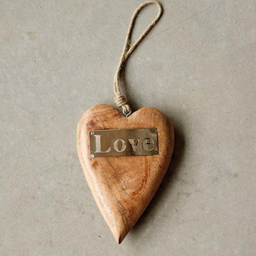 Mango Wood Hanging Heart