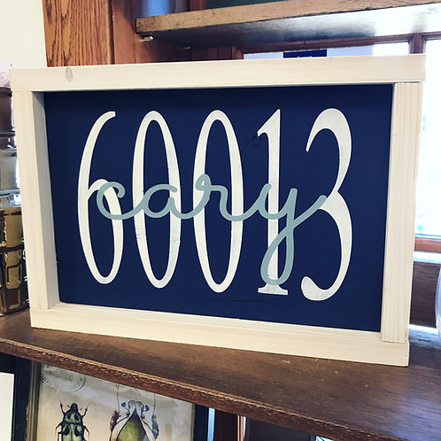 Framed Cary Zip Code Sign