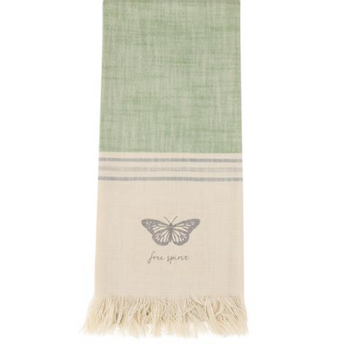 Slubbed Cotton Tea Towel - Butterfly