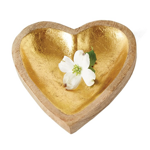 Mango Wood Heart Tray w/  Gold Leaf