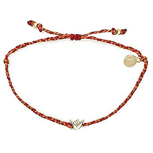 Pure Vida Gold Shaka Bracelet Red