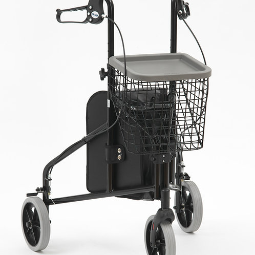 Aluminium Tri-walker with bag, basket and tray