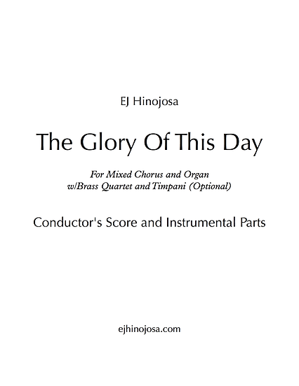 The Glory Of This Day Conductor's Score and Instrumental Pk