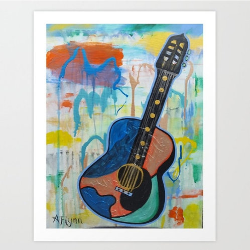 Metallic Guitar Art Print