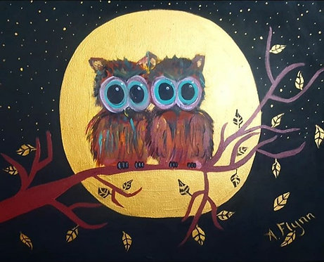 Golden Love Owls Art Prints