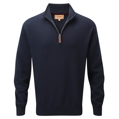 Schoffel Cotton/Cashmere 1/4 Zip | Navy