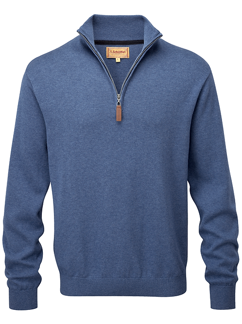 Schoffel Cotton/Cashmere 1/4 Zip | Stone Blue