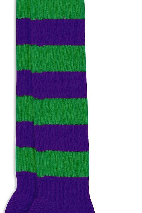 Sporting Hares Socks   Aubergine & Greenery
