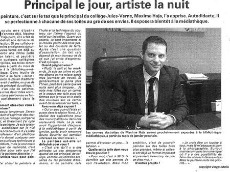 Vosges Matin : annonce exposition médiathèque de Vittel