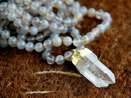 Double Wrap Smokey Agate, Quartz Crystal, and Gold